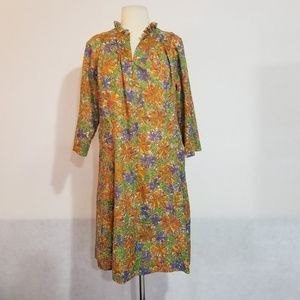 1970s Homemade Multi-Color Poly Shift Dress